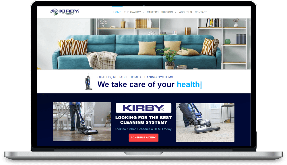 Imagem de construção de website do cliente kirbynigeria.com
